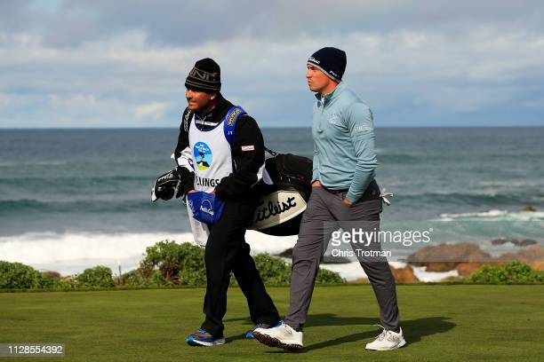 Scott Stallings of the United States walks from the 13th tee during the second round of the ATT Pebble Beach ProAm at Monterey Peninsula Country Club...
