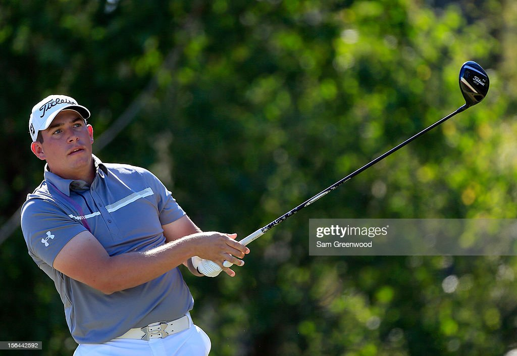 Scott Stallings plays a shot during the third round of the Children's Miracle Network Hospitals Classic at the Disney Magnolia course on November 10, 2012 in Lake Buena Vista, Florida.