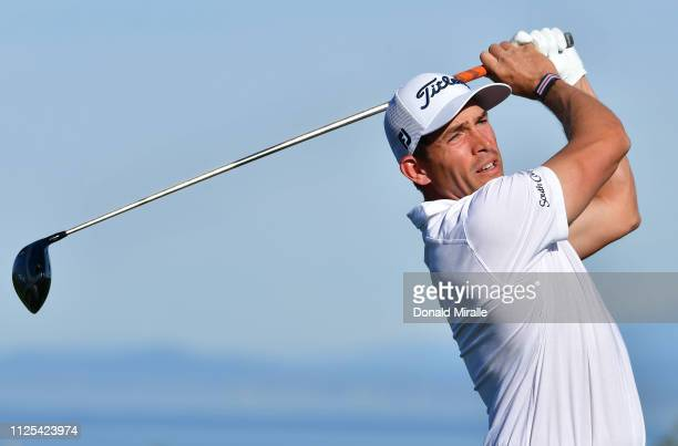 Scott Stallings plays his shot from the 13th tee on the South Course during the final round of the the 2019 Farmers Insurance Open at Torrey Pines...
