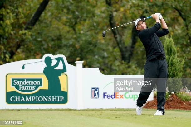 Scott Stallings plays his shot from the 15th tee during Sanderson Farms Championship Round One on October 25 2018 in Jackson Mississippi