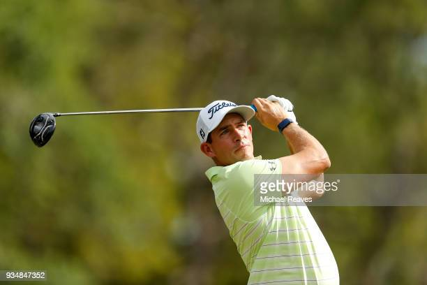 Scott Stallings plays his shot from the 18th tee during the final round of the Valspar Championship at Innisbrook Resort Copperhead Course on March...