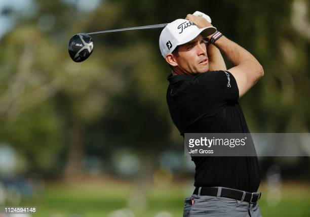 Scott Stallings plays his shot from the 18th tee on the North Course during the first round of the 2019 Farmers Insurance Open at Torrey Pines Golf...