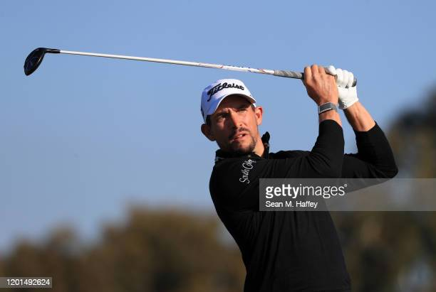 Scott Stallings plays his shot from the second tee during the first round of the Farmers Insurance Open on Torrey Pines South on January 23 2020 in...