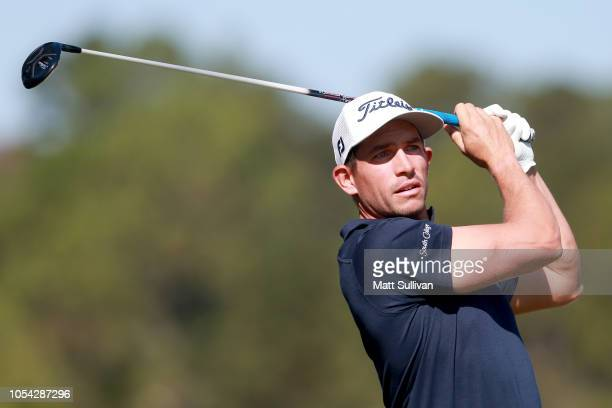 Scott Stallings plays his shot from the second tee during the third round of the Sanderson Farms Championship at The Country Club of Jackson on...