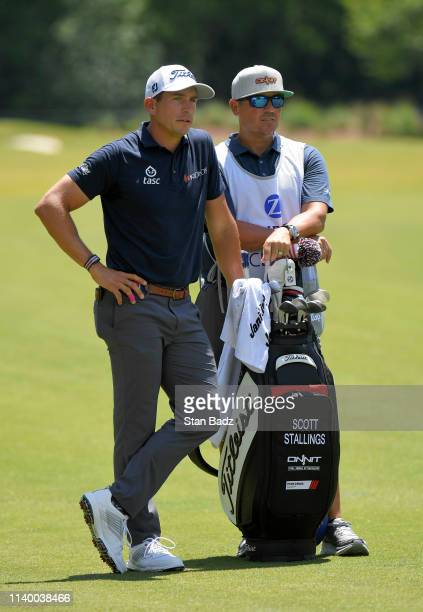 Scott Stallings waits to play a shot on the fifth hole during the final round of the Zurich Classic of New Orleans at TPC Louisiana on April 28 2019...