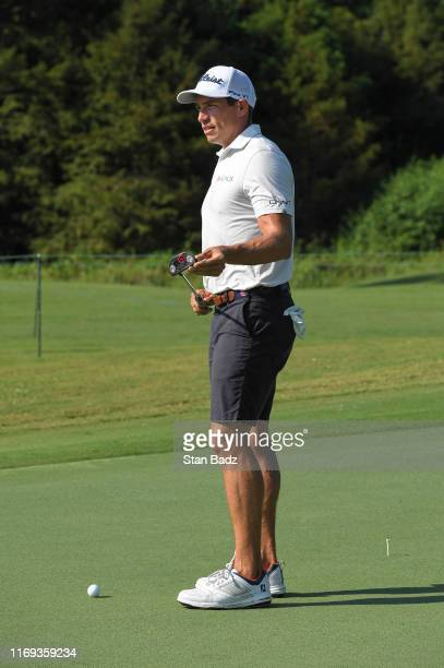 Scott Stallings waits to putt on the second hole prior to the Sanderson Farms Championship at Country Club of Jackson on September 17 2019 in Jackson...