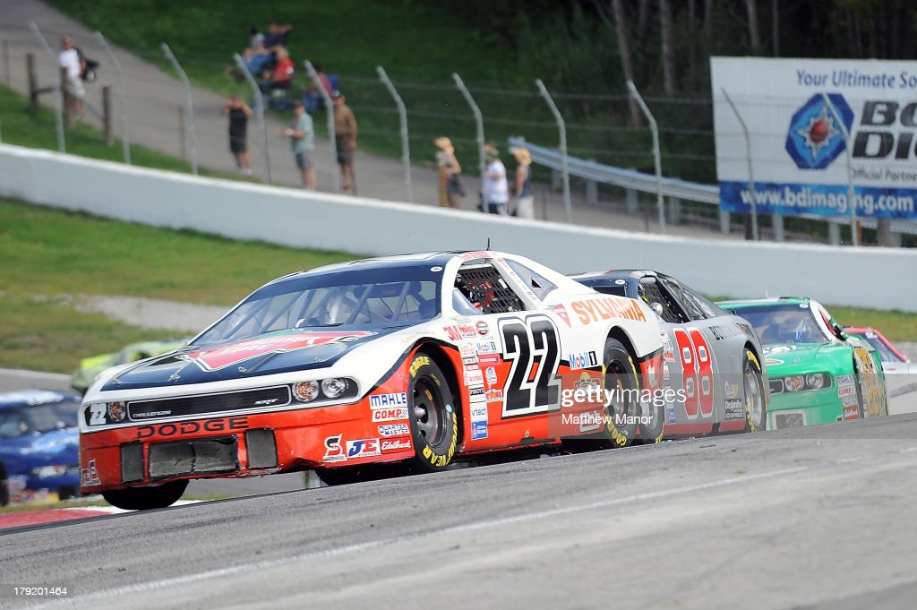 Scott Steckly, driver of the #22 Canadian Tire Dodge races through turn 5 during the NASCAR Canadian Tire Series presented by Mobil 1 Pinty's presents the Clarington 200 at Canadian Tire Motorsport Park on September 1, 2013 in Bowmanville, Canada.