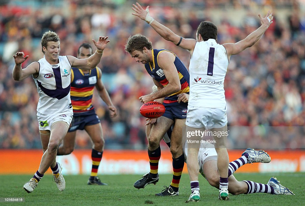 Scott Stevens of the Crows under pressure during the round 11 AFL match between the Adelaide Crows and the Fremantle Dockers at AAMI Stadium on June 5, 2010 in Adelaide, Australia.