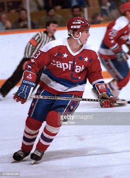 Scott Stevens of the Washington Capitals skates up ice against the Toronto Maple Leafs at Maple Leaf Gardens in Toronto Ontario Canada on December 17...