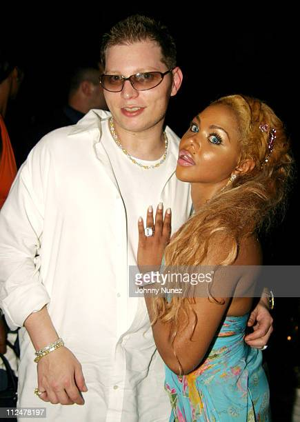 Scott Storch and Lil' Kim during Roc Digital's Rocbox Launch Party at Sky Bar at The Shore Club in Miami Florida United States