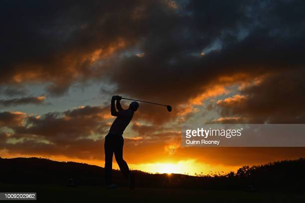 Scott Strange of Australia tees off during Day One at the Fiji International Golf Tournament on August 2 2018 in Natadola Fiji
