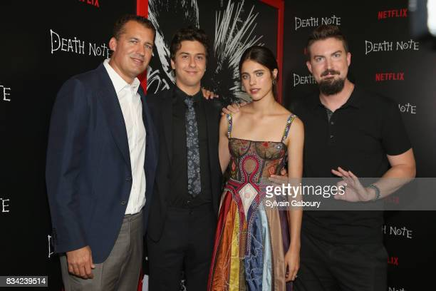 Scott Stuber Nat Wolff Margaret Qualley and Adam Wingard attends Death Note New York Premiere at AMC Loews Lincoln Square 13 theater on August 17...