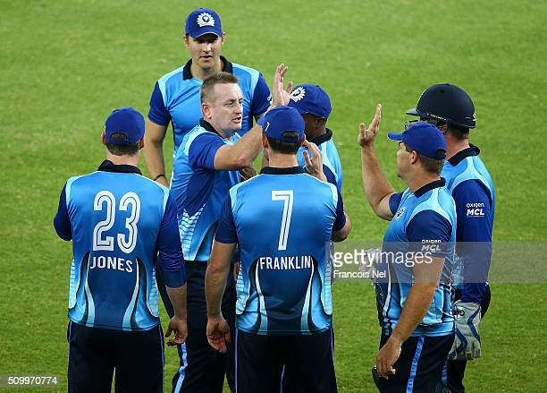 Scott Styris and Heath Streak of Leo Lions celebrate the wicket of Richard Levi of Gemini during the Final match of the Oxigen Masters Champions...