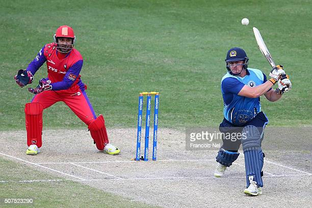 Scott Styris of Leo Lions bats during the Oxigen Masters Champions League match between Gemini Arabians and Leo Lions on January 30 2016 in Dubai...