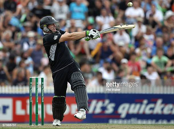 Scott Styris of New Zealand bats during the One Day International match between New Zealand and Australia at Seddon Park on March 9 2010 in Hamilton...