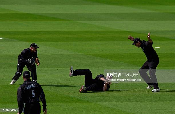 Scott Styris of New Zealand catches Chris Gayle off Jacob Oram during the NatWest Series Final between New Zealand and West Indies at Lord's London...