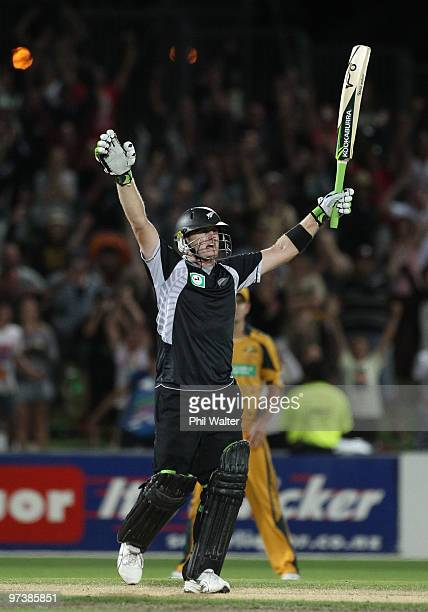 Scott Styris of New Zealand celebrates hitting the winning runs during the First One Day International match between New Zealand and Australia at...
