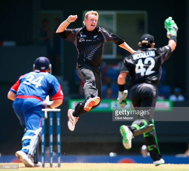 Scott Styris of New Zealand celebrates the wicket of Jamie Dalrymple of England during the ICC Cricket World Cup Group C match between England and...