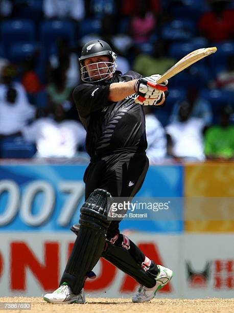 Scott Styris of New Zealand hits a four for his century during the ICC Cricket World Cup 2007 Super Eight match between Sri Lanka and New Zealand at...