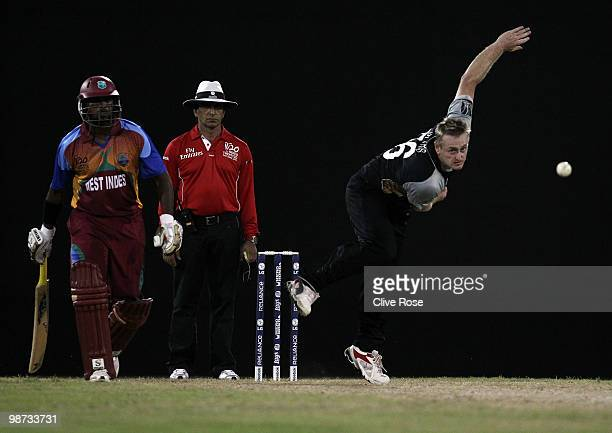 Scott Styris of New Zealand in action during the ICC T20 World Cup warm up match between West Indies and New Zealand at the Guyana National Stadium...