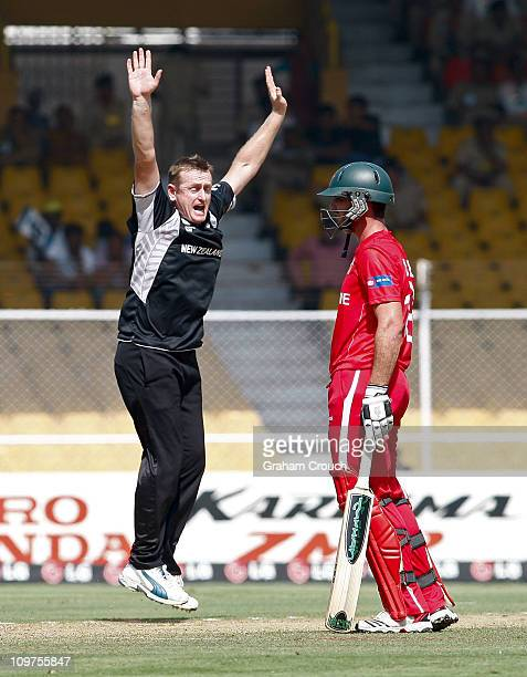 Scott Styris of New Zealand successfully appeals for the wicket of Brendan Taylor of Zimbabwe in the 2011 ICC World Cup Group A match between New...
