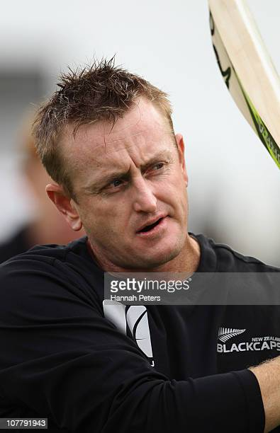 Scott Styris of New Zealand warms up before game two of the Twenty20 series between New Zealand and Pakistan at Seddon Park on December 28 2010 in...