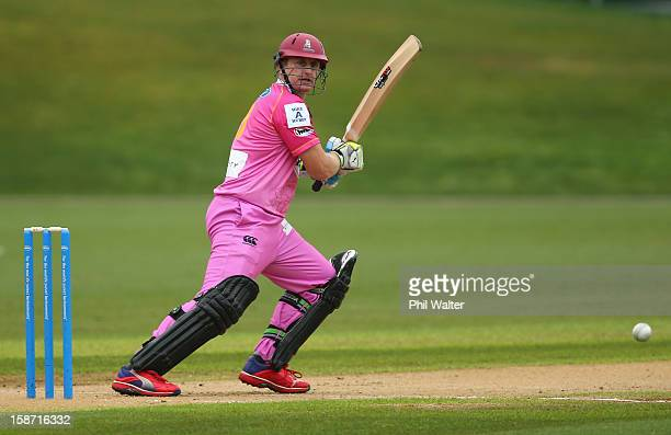 Scott Styris of Northern Districts bats during the HRV Cup Twenty20 match between the Auckland Aces and Northern Knights at Eden Park on December 26...