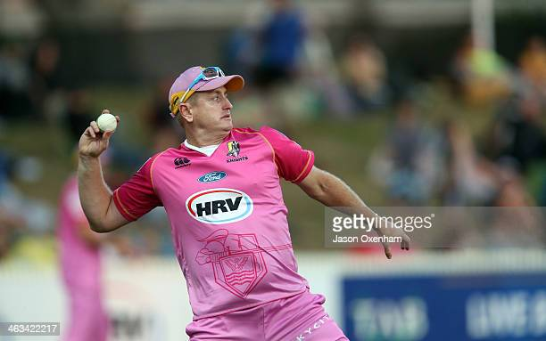 Scott Styris of Northern Districts sends the ball back from the boundary during the HRV Final match between the Otago Volts and Northern Districts at...