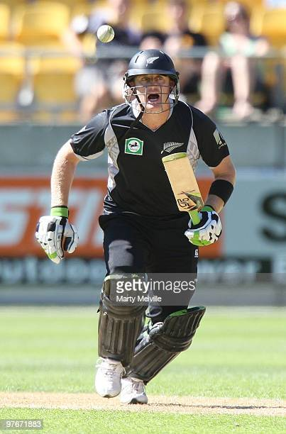 Scott Styris of the Blackcaps hits the ball during the 5th ODI at Westpac Stadium on March 13 2010 in Wellington New Zealand