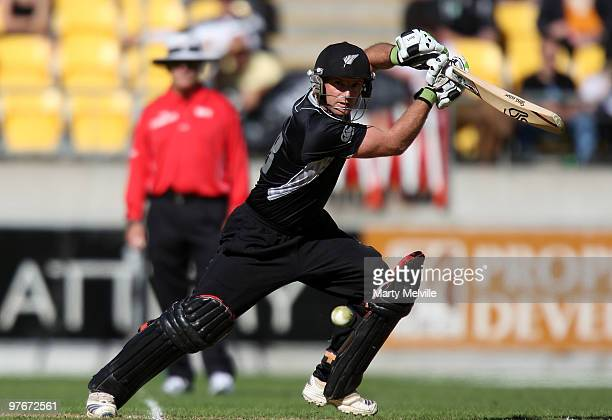 Scott Styris of the Blackcaps hits the ball during the 5th ODI match between New Zealand and Australia at Westpac Stadium on March 13 2010 in...