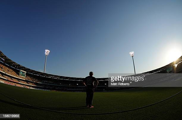 Scott Styris of the Hurricanes fields during the Big Bash League match between the Brisbane Heat and the Hobart Hurricanes at The Gabba on December 9...