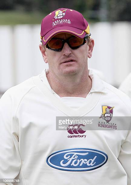 Scott Styris of the Knights walks from the field for lunch during day four of the Plunket Shield match between the Wellington Firebirds and the...
