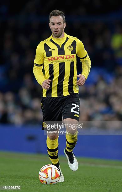 Scott Sutter of Young Boys in action during the UEFA Europa League Round of 32 match between Everton and BSC Young Boys on February 26 2015 in...