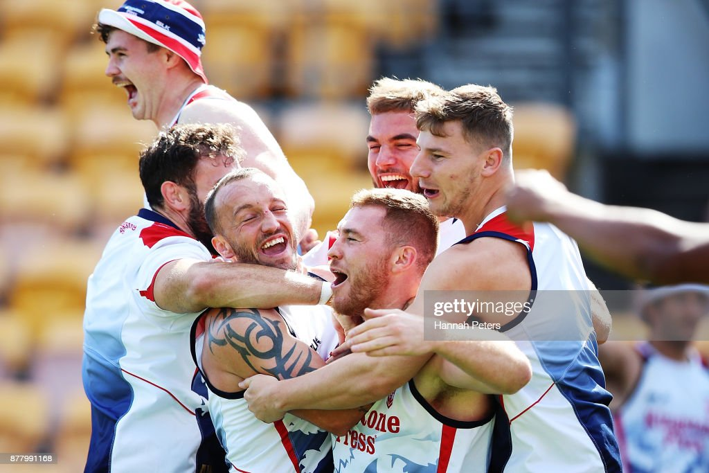 Scott Taylor is surrounded by team mates during the England Rugby League World Cup Semi Final Captain's Run at Mt Smart Stadium on November 24, 2017 in Auckland, New Zealand.
