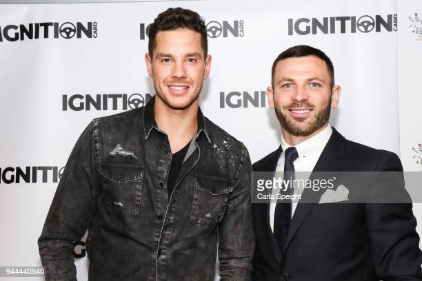 Scott Thomas and Phil Bardsley pose during the Ignition Card Launch at The Colony on April 10 2018 in Wilmslow England