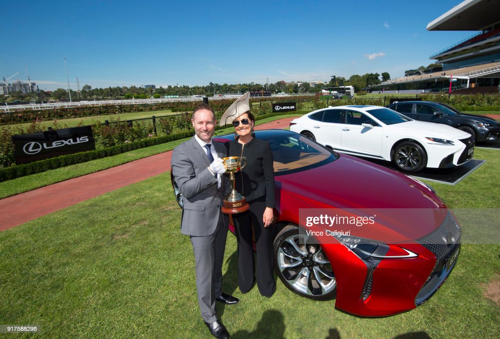 Scott Thompson ( Lexus CEO ) and Amanda Elliott (VRC Chairman) hold the 2018 Lexus Melbourne Cup during the VRC Melbourne Cup Sponsorship Announcement at Flemington Racecourse on February 13, 2018 in Melbourne, Australia. The VRC announced global luxury lifestyle brand Lexus as the new Melbourne Cup Principal Partner at Flemington Racecourse.