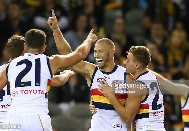 Scott Thompson of the Adelaide Crows celebrates after kicking a goal during the round three AFL match between the Richmond Tigers and the Adelaide...