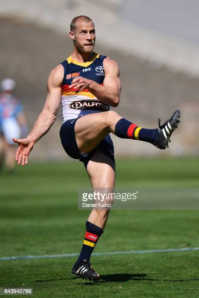 Scott Thompson of the Crows kicks the ball during a practice match between the Greater Western Sydney Giants and the Adelaide Crows at AAMI Stadium...