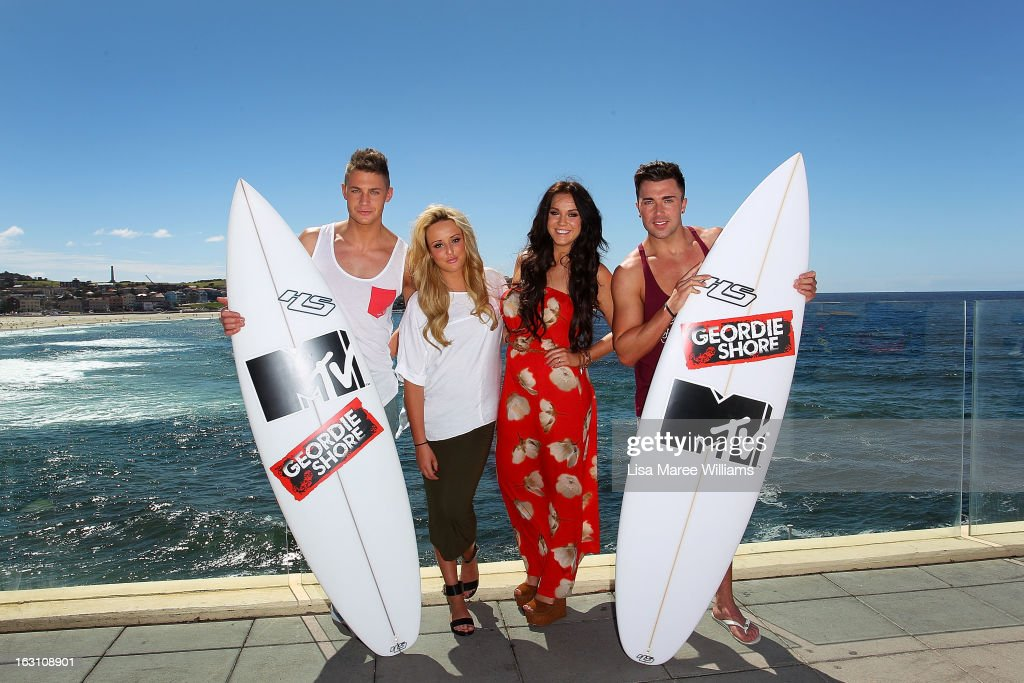 Scott Timlin, Charlotte Letitia Crosby, Vicky Pattison and James Tindale of UK reality TV series, Geordie Shore, pose for a photo at Bondi Beach on March 5, 2013 in Sydney, Australia.