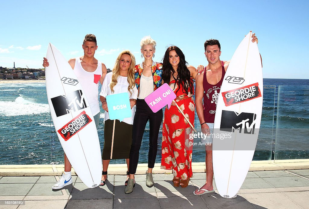 Scott Timlin,Charlotte Letitia Crosby,Kate Peck, Vicky Pattison and James Tindale pose for a photo at Bondi Beach on March 5, 2013 in Sydney, Australia.
