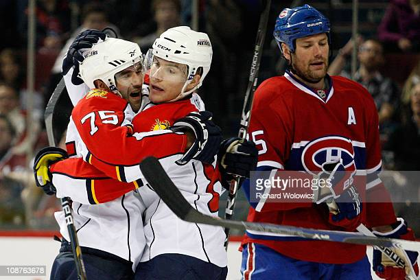 Scott Timmins of the Florida Panthers celebrates a first-period goal during the NHL game against the Montreal Canadiens at the Bell Centre on...