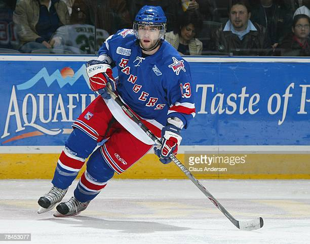 Scott Timmins of the Kitchener Rangers skates in a game against the London Knights on December 9 2007 at the John Labatt Centre in London Ontario The...