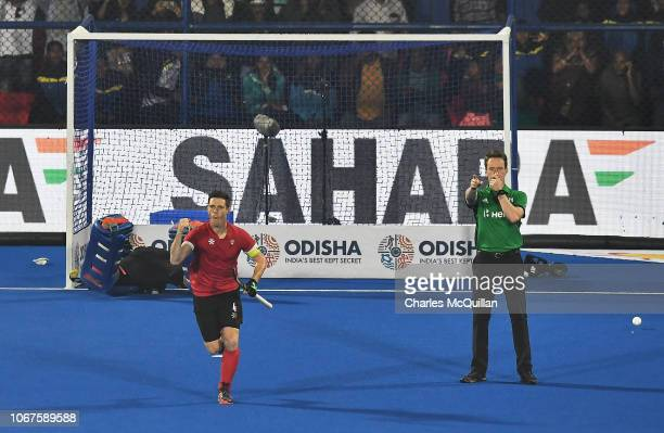 Scott Tupper of Canada celebrates after scoring past goalkeeper Gowan Jones of South Africa during the FIH Men's Hockey World Cup Group C match...