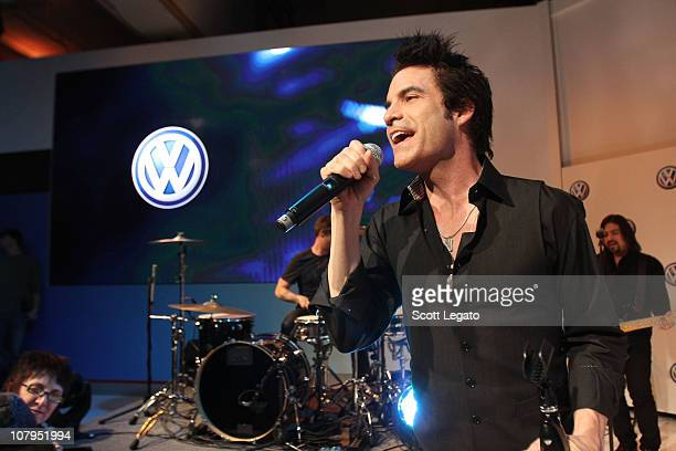 Scott Underwood and Patrick Monahan of Train performs at the Volkswagen reveal of the AllNew Passat A FirstInClass vehicle that delivers accessible...