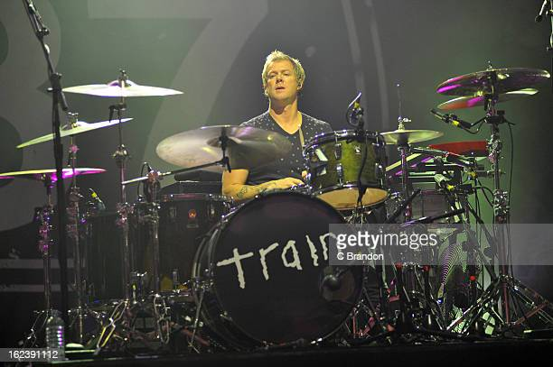 Scott Underwood of Train performs on stage at Hammersmith Apollo on February 22 2013 in London England