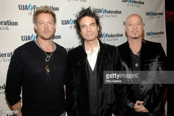 Scott Underwood Patrick Monahan and Jimmy Stafford of Train attend the 2011 UJAFederation of New York's Broadcast Cable and Video award celebration...