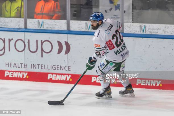Scott Valentine of Augsburger Panther controls the puck during the DEL match between EHC Red Bull Muenchen and Augsburger Panther on January 12, 2021...