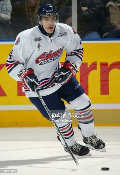 Scott Valentine of the Oshawa Generals skates in a game against the London Knights on January 9 2009 at the John Labatt Centre in London Ontario The...