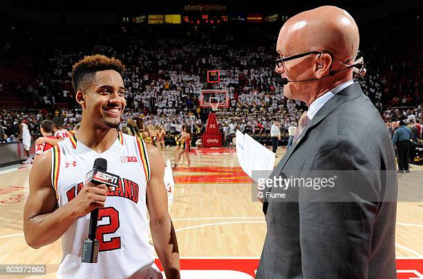 Scott Van Pelt interviews Melo Trimble of the Maryland Terrapins after the game against the Georgetown Hoyas at Xfinity Center on November 17 2015 in...