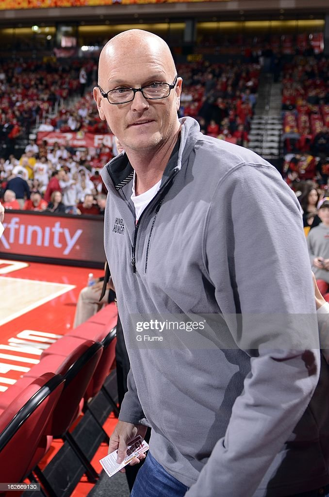 Scott Van Pelt watches the game between the Maryland Terrapins and the Duke Blue Devils at the Comcast Center on February 16, 2013 in College Park, Maryland.